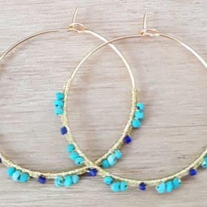 Créoles Turquoise & Lapis Lazuli